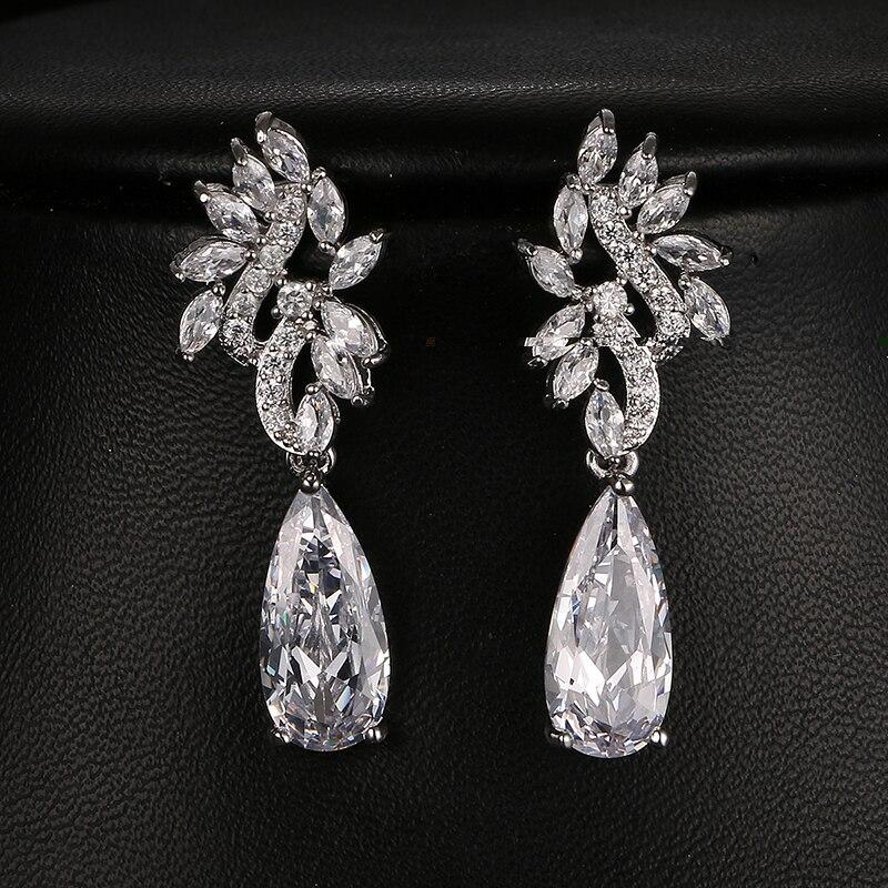 Emmaya Fashion AAA CZ Bridal Earring Water Drop Shape New Arrival Gorgeous Design Flower Earrings For Women pair of gorgeous chic style faux gem embellished women s leaf shape drop earrings