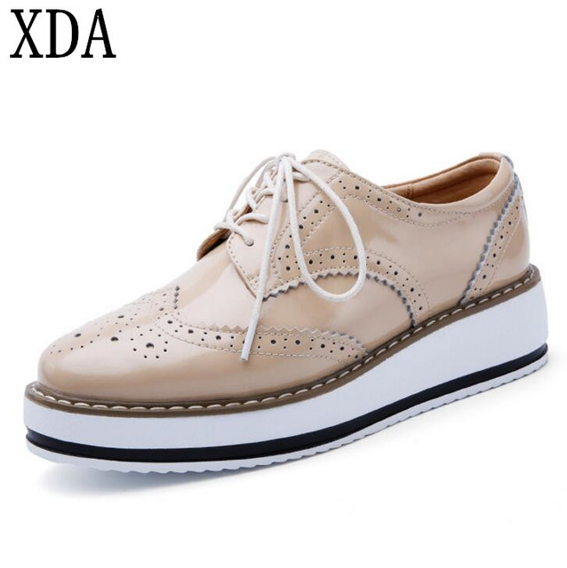 dec05f04394 XDA 2019 Women Platform Shoes Woman Brogue Patent Leather Flats Lace Up  Creepers Female Flat Oxford Shoes For Women shoes