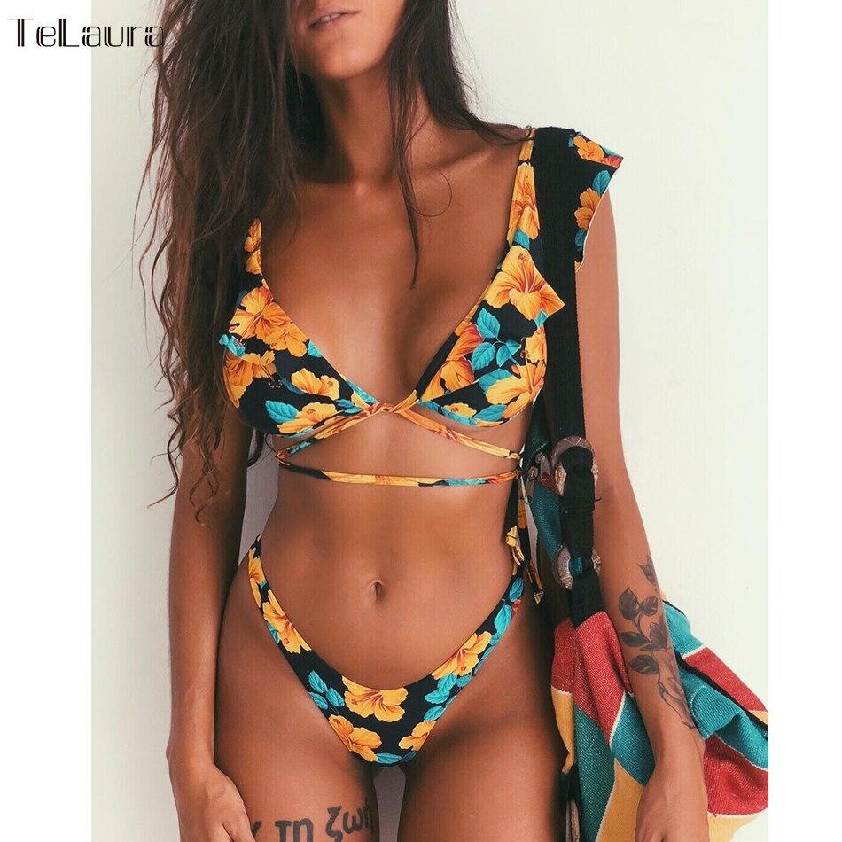 2019 сексуальный купальник бикини женский купальник пуш ап бикини женское бикини купальный костюм с оборками Купальник бандаж летняя пляжная одежда