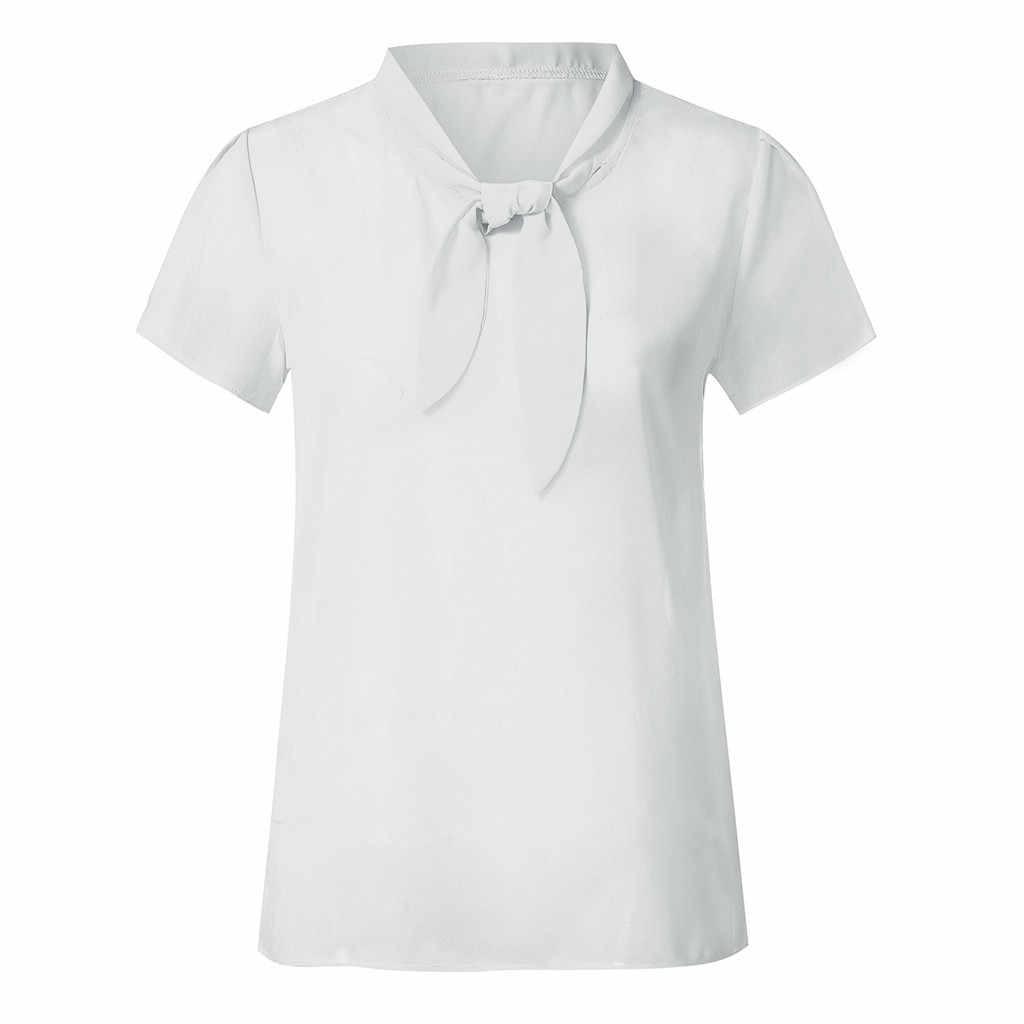 الصيف 2019 الكورية أزياء النساء قمم قصيرة الأكمام عارضة بلوزة شيفون ملابس حريمي عمال مكتب أنيقة المرأة الأبيض قميص