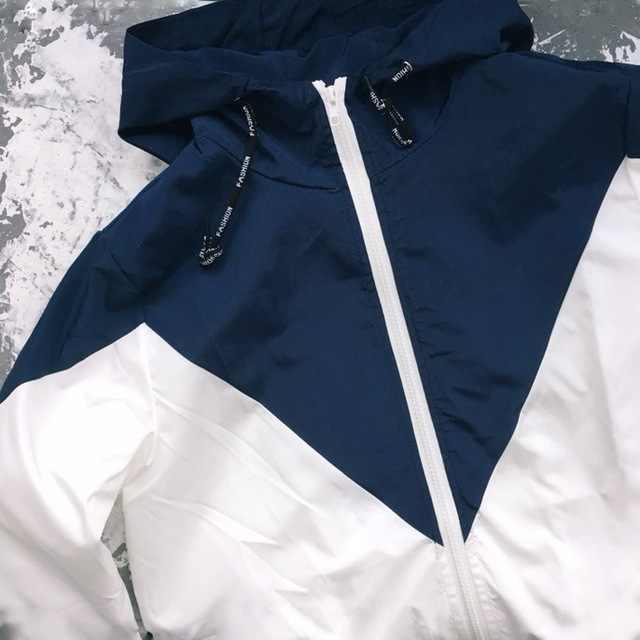 25e341cc837 ... ZAFUL con capucha con dos tono cazadora chaqueta Patchwork Mujer  Chaquetas de bloque de Color de ...