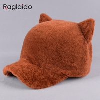 Raglaido נשים של כובע 2017 כובעי פרווה גז כבשים חם חורף כובע אוזן שועל פרווה אמיתית ברים caps בעלי החיים heardwear LQ11241