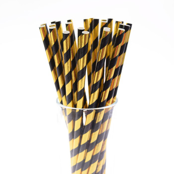 цены 25PCS Foil Striped Paper Straw Gold And Black Disposable Straw Birthday Wedding Decorative Party Event Drinking Straws