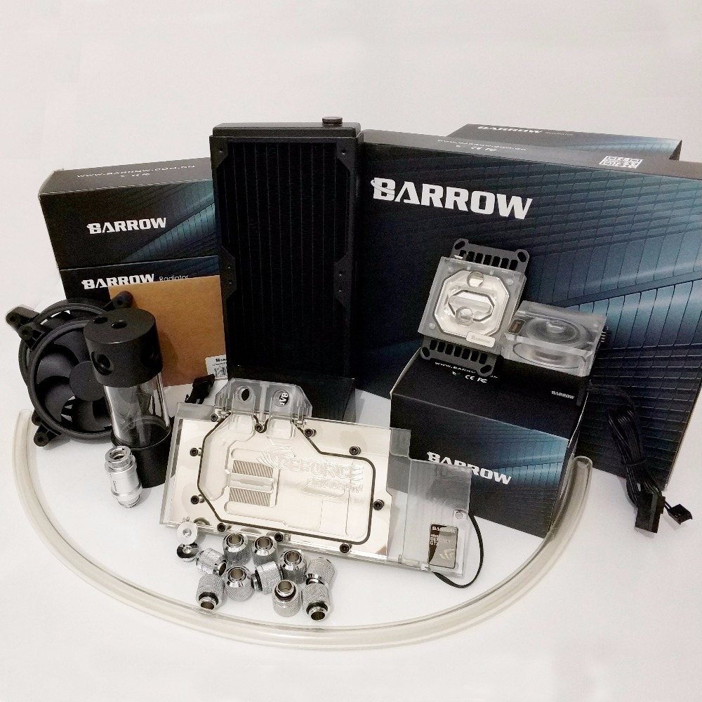 Купить с кэшбэком Barrow Water Cooling Kits Hose + Radiator + CPU Block + GPU Block + Pump + Reservoir use for AM3 AM4 + Intel 115X 2011 Soft Kit
