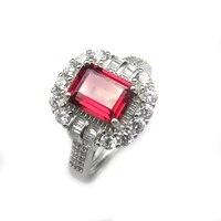 Lanzyo 925 стерлингов Серебряные кольца магния природный драгоценный камень гранат Ювелирные украшения на день рождения для Для женщин Кольца