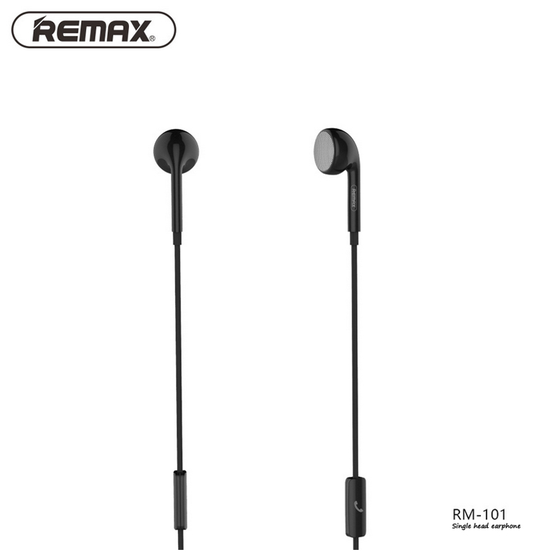 Remax RM-101 Wired Headset with Microphone 3.5mm Earphones Single Head Earphone 1m Audio Jack for Phone