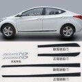 1 conjunto para HYUNDAI AVANTE ELANTRA porta adesivo fibra de Carbono para baixo adesivos Decorativos