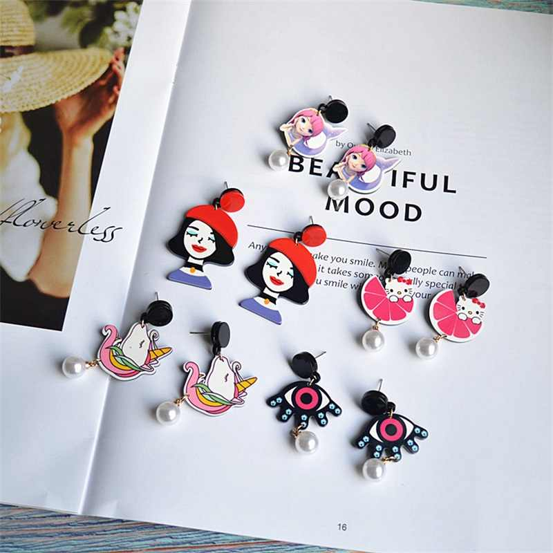 2019 Fashion cartoon animal Korean funny modern girl mermaid acrylic long pearl dangle earrings women jewelry pendants trinket
