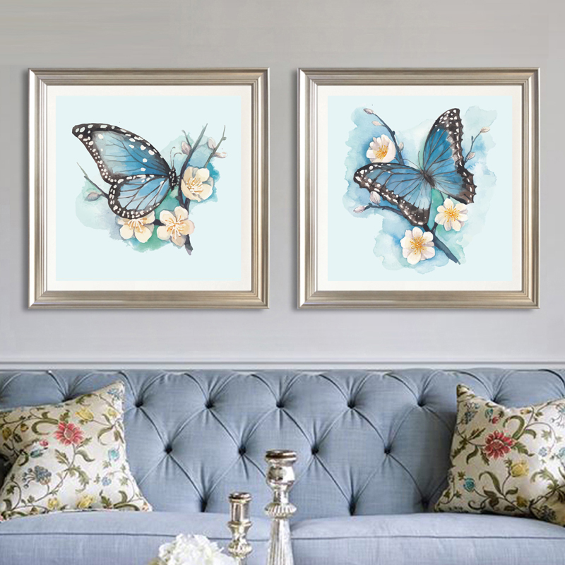 Needlework,DIY Cross Stitch, Set For Full Embroidery Kit,blue Butterfly Plum Flower Printed Pattern Cross Stitch Wedding Gift