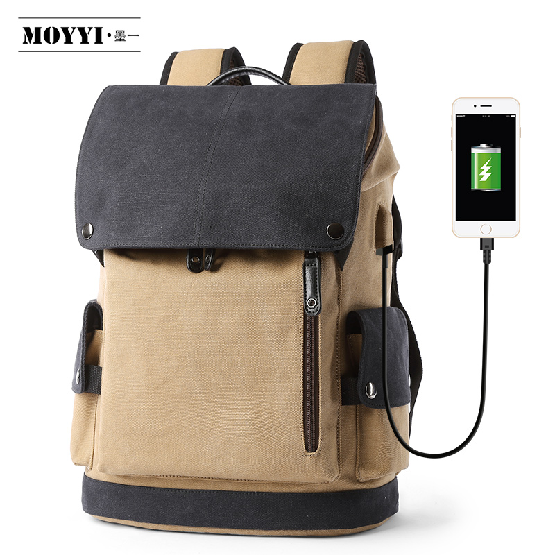 MOYYI Canvas Bag with USB Charging Plug Fashion Vintage Stylish Backpack Multi-Functional Backpacks Anti-Theft and Resistant(China)