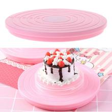 Pink Cake Turntable Stand Holder Rotate Platform Size Scale Display for Decorating Birthday Wedding Cakes,(China)