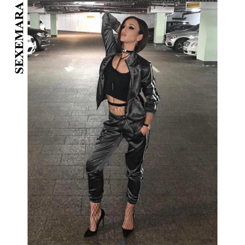 SEXEMARA Spring 2018 Casaul Tracksuit Women 2 Piece Set Top And Pants Satin Striped Patchwork Zipper 1