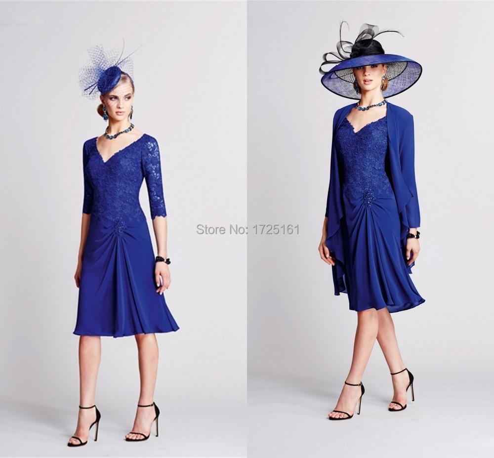 Royal Blue Chiffon Lace Knee Length Mother Bride Dress Long