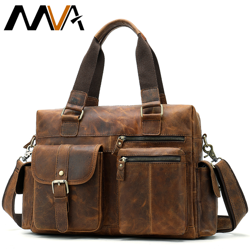 Bag Men's Genuine Leather Bag Men Shoulder Messenger Leather Laptop Bags Mens Tote Briefcase Bags For Men Briefcase 15 Inch 8537