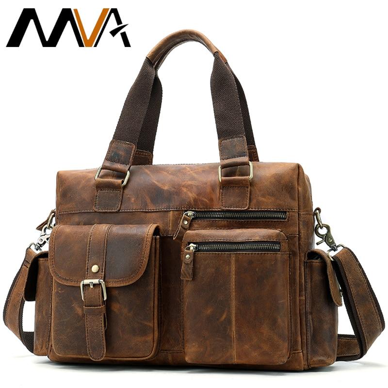Bag Men's Genuine Leather Bag Men Shoulder Messenger Leather Laptop Bags Mens Tote Briefcase Bags For Men Briefcase 15 Inch 8537