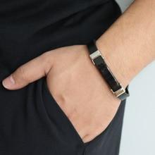 2019 Chic Braided Men Bracelet Black Silicone Bracelet Titanium Steel Clasp Male Jewelry Silver/Black Charm fashionable simple pu leather titanium steel braided wrist bracelet for men black silver