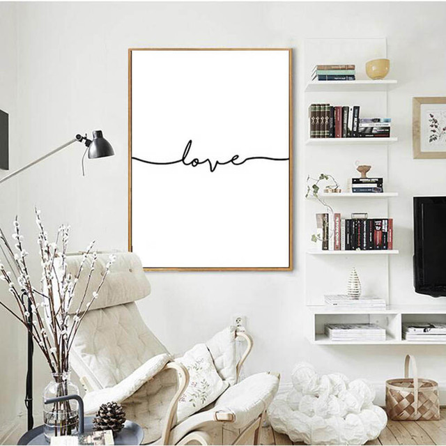 Nordic Poster Black Letter Cuadros Decoracion Wall Art Canvas ...