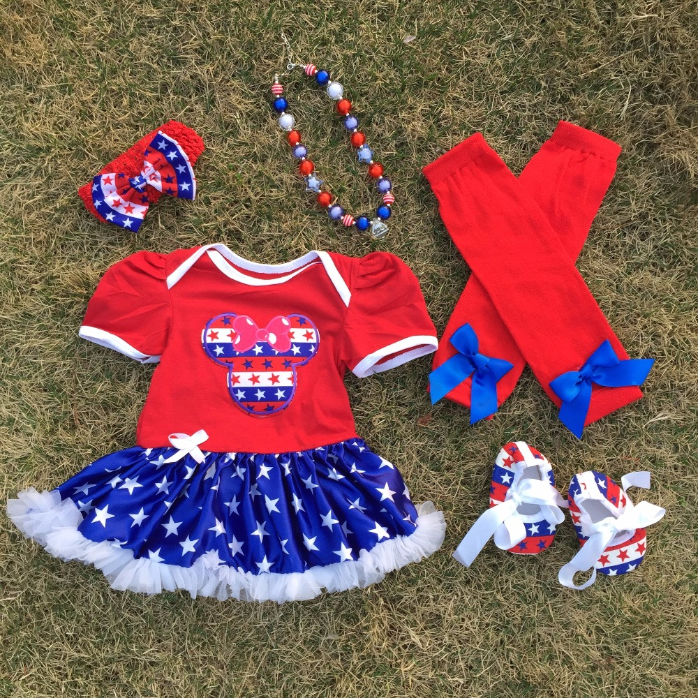 2018 Top Sale baby Kids July 4th romper Minnie pettidress Patriotic petticoat with matching necklace hair bow and leggings set