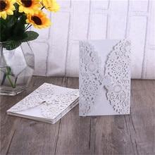 10 шт Вертикальные пригласительные комплекты открыток с лазерной гравировкой и бабочкой для свадьбы, свадьбы, дня рождения(белые