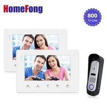 Homefong7 Inch Color Video Door Phone 2 Monitor Recording Doorbell Intercom System with Camera Dual-way Talk Night Vision 800TVL
