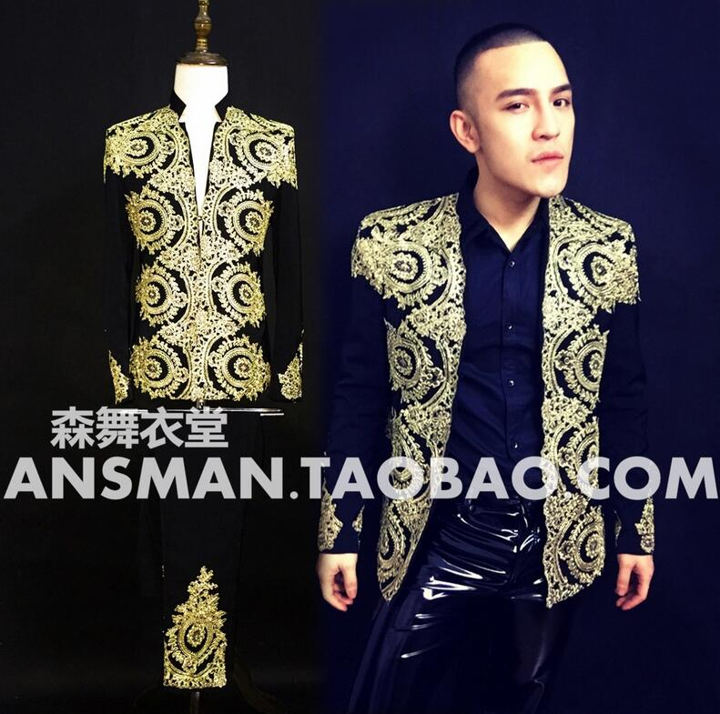 NEW Men singer stage DJ Nightclub Heavy Baroque embroidery baseball jacket coat Mens scostume