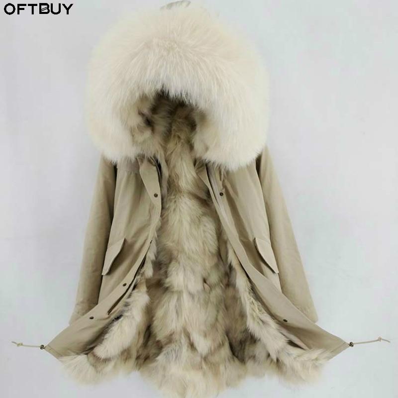 OFTBUY 2019 Real Fur Coat Winter Jacket Women Long Parka Natural Raccoon Fur Collar Real Fox Fur Beige Luxury Streetwear Warm