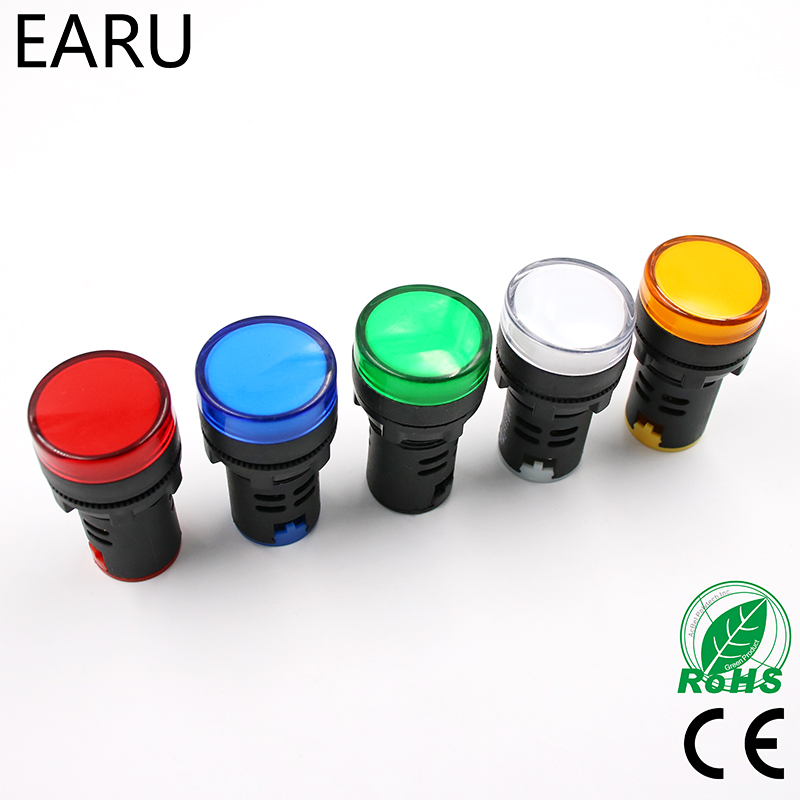 1pcs 12V 24V 110V 220V 380V 22mm Panel Mount LED Power Indicator Pilot Signal Light Lamp AD16-22 Red Blue White Green Yellow