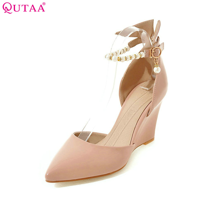 QUTAA 2018 Women Pumps Summer Ladies Shoe Wedge High Heel PU Leather White Pointed Toe Beading Woman Wedding Shoes Size 34-43 стоимость
