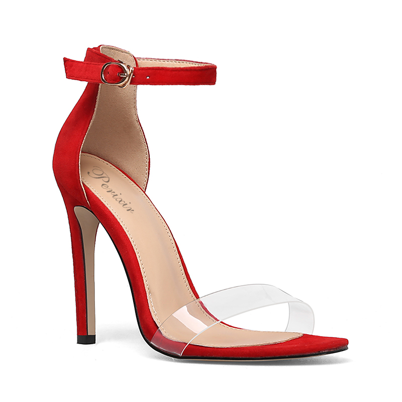 XZ Mode Élégant Rivet Pointu Boucle de Ceinture Mince Haut Talon Chaussures de Mariage (Couleur : Rouge, Taille : 33)