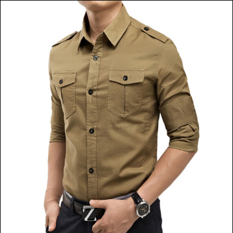 Free shipping military vintage long sleeve shirt male for Mens military style long sleeve shirts