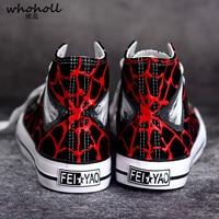 Unisex Men's Shoes Super Hero Print Canvas Shoes Casual Flat Shoes Spider Man Graffiti Canvas Shoes Men's High Top Footwear