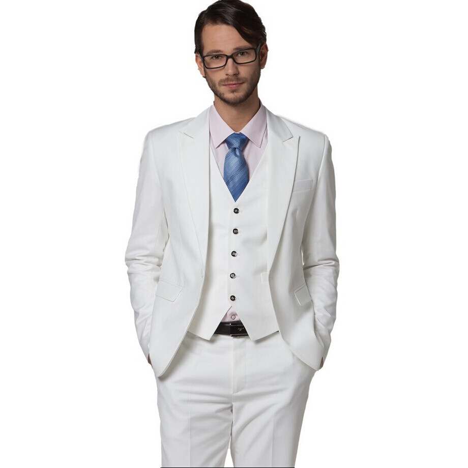 Wedding White Or Blue Shirt: Wholesale Men's Clothing Slim Suit White Wedding Suits