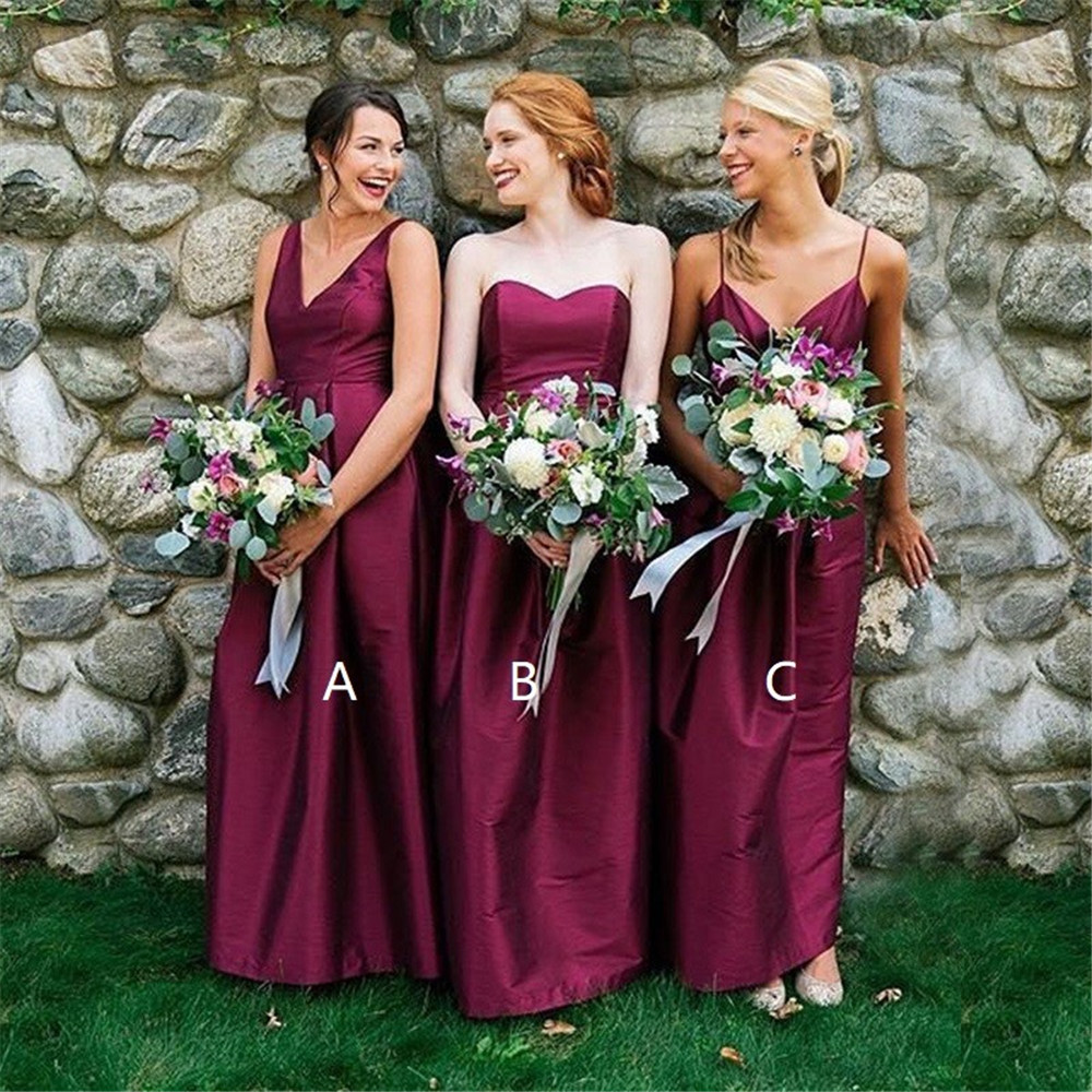 3 Style Purple Satin   Bridesmaid     Dresses   V Neck A Line Sleeveless Long Wedding Party Gowns 2019 High Quality Maid Of Honor   Dress