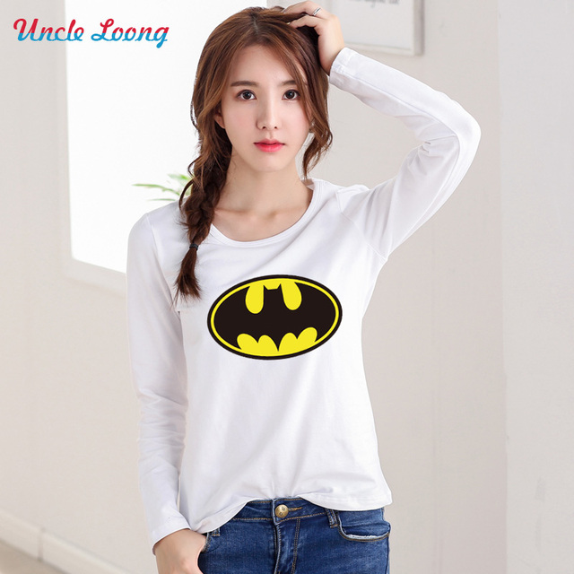 Autumn New Fashion Women T-shirts Batman T Shirts Stretch Cotton Long Sleeve Tees Plus Size Modal Tops S-XXL