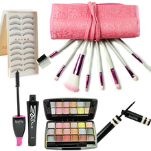 5pcs eyeshadow+False eyelashes+mascara+Makeup brush+eyeliner sexy women Eye makeup set