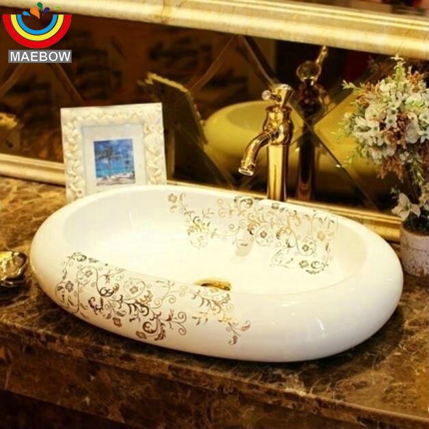 Handmade Artistic Oval Countertop Ceramic Bathroom Vessel Sink Wash  Basin In Bathroom Sinks From Home Improvement On Aliexpress.com | Alibaba  Group