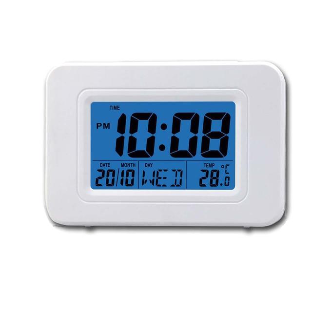 fccd4ca49f1 Luz de Fundo azul Display Calendário Temperatura Moderna Mesa De Desktop  Tempo Relógio Soneca Despertador Digital