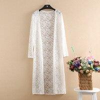 Lace Cardigan Plus Size 4XL Long Cardigan Women Beach Kimono Summer Cardigans Long Sleeve White Pink Shirt 2019 Korean Clothes
