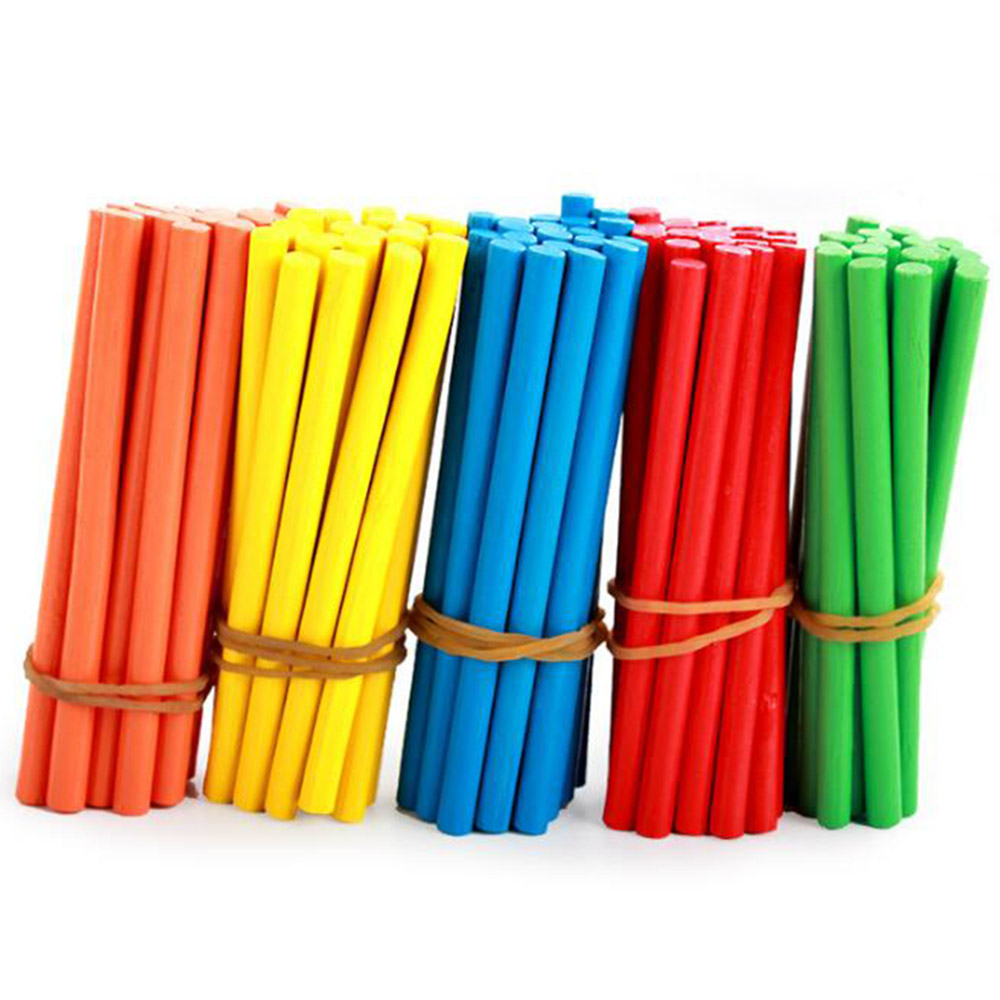 100pcs Colorful Bamboo Counting Sticks Mathematics Teaching Aids Counting Rod Kids Preschool Math Learning Toys For Children