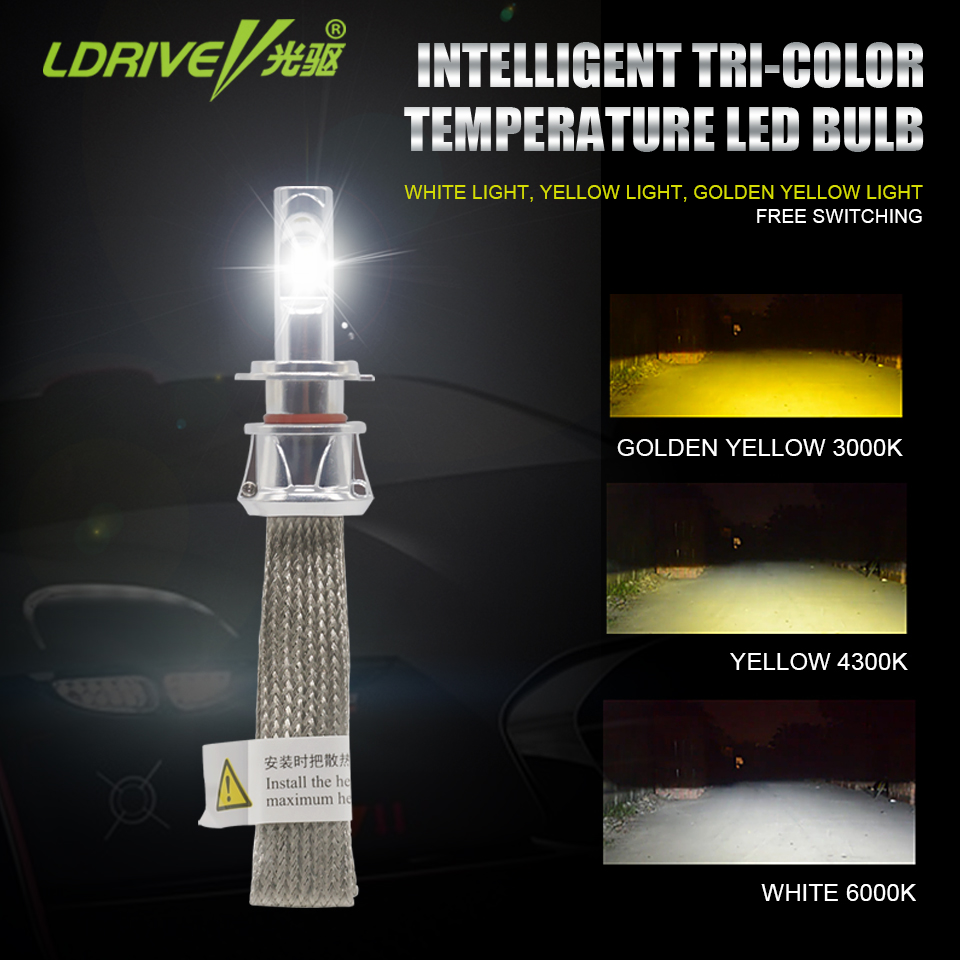 LDRIVE 1 Pair Auto Led Light Tri Color H7 9005 9006 HB3 HB4 H9 H11 Car Driving Head Lamp 48W 4800lm Headlights 3000k 4300k 6000k cool silver 2 pcs h11 led copper strips cooling r4 6000k 4800lm led lamp for car