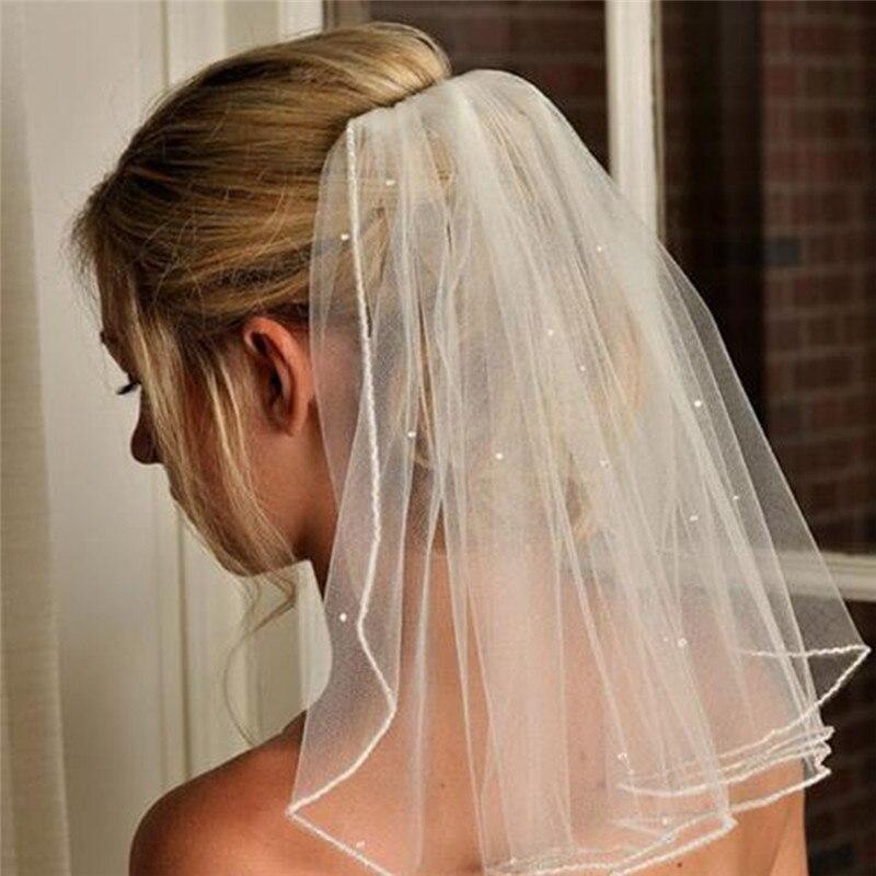 Wedding Hairstyles No Veil: New Fashion Women Crystal Beaded Wedding Veil Short White