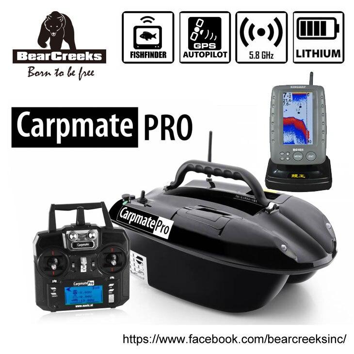 GPS Autopilot BearCreeks Carpmate Carp Fishing Bait Boat with BC151 Color Fishfinder remote control bait boat