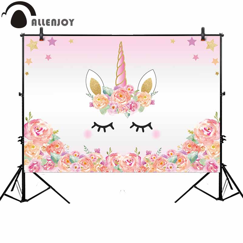 Allenjoy Pink Unicorn Photography Backdrop Birthday Flower Banner Dessert Table Background Photobooth Photocall Original Design