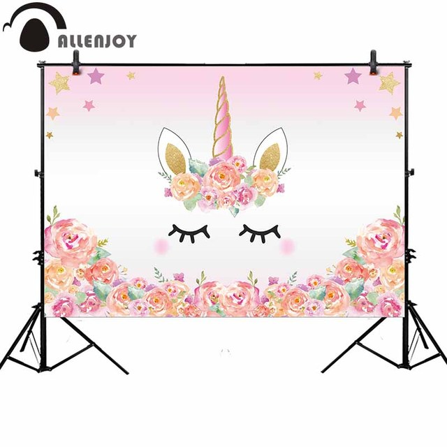 Allenjoy pink unicorn photography backdrop birthday flower banner Dessert table Background photobooth photocall original design