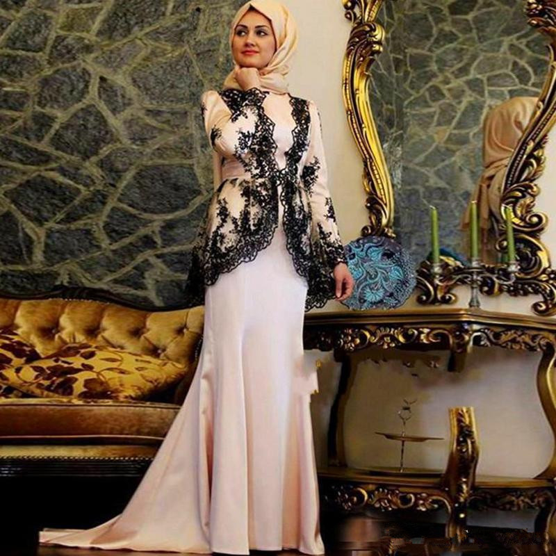 Elegant Muslim   Evening     Dresses   2019 Mermaid Long Sleeves Lace Formal Islamic Scarf Dubai Saudi Arabic Long Prom   Evening   Gown