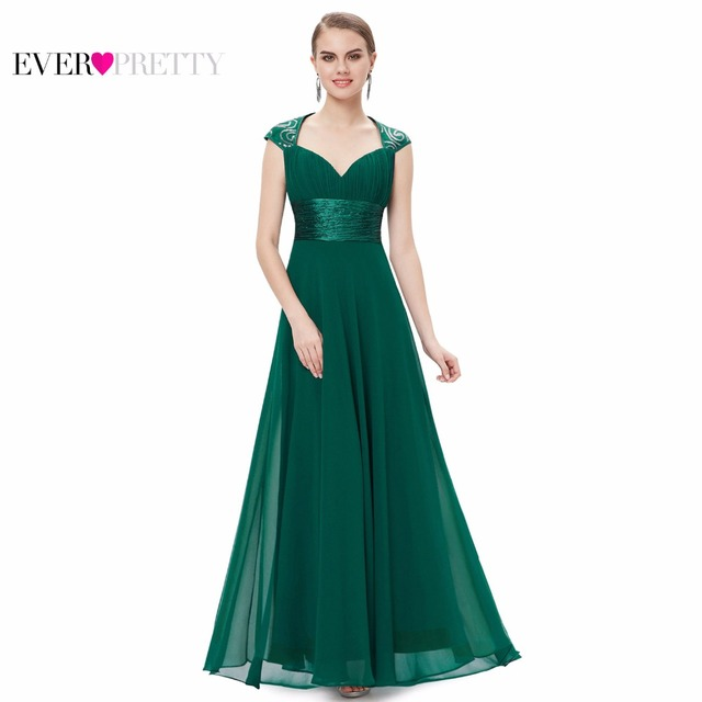 Formal Evening Dress EP09672 Ever Pretty Cap Sleeve Sweep Train V-neck White Sequins Chiffon Ruffles Empire Long Evening Dresses