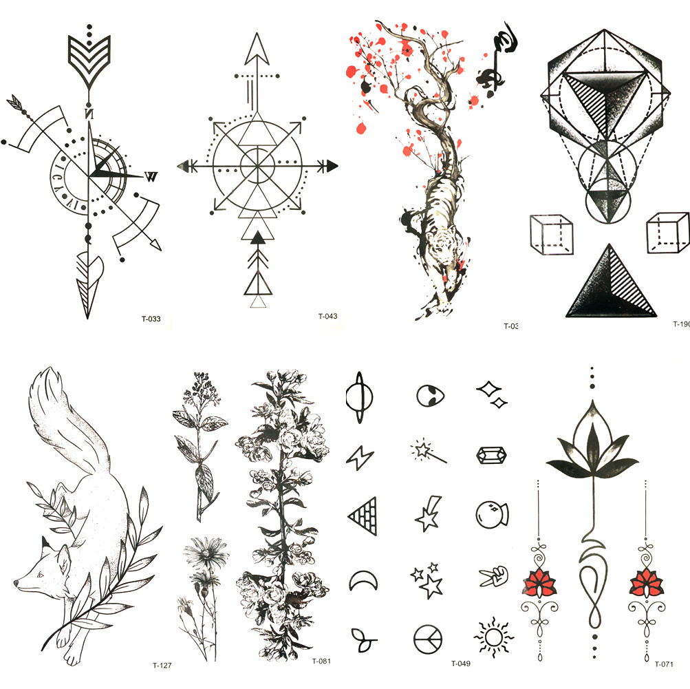 Lovely Black Compass Arrow Temporary Tattoo Red Plum Tiger Waterproof Tattoo Men Body Arm Art Tatoo Stickers Women Hands Paste