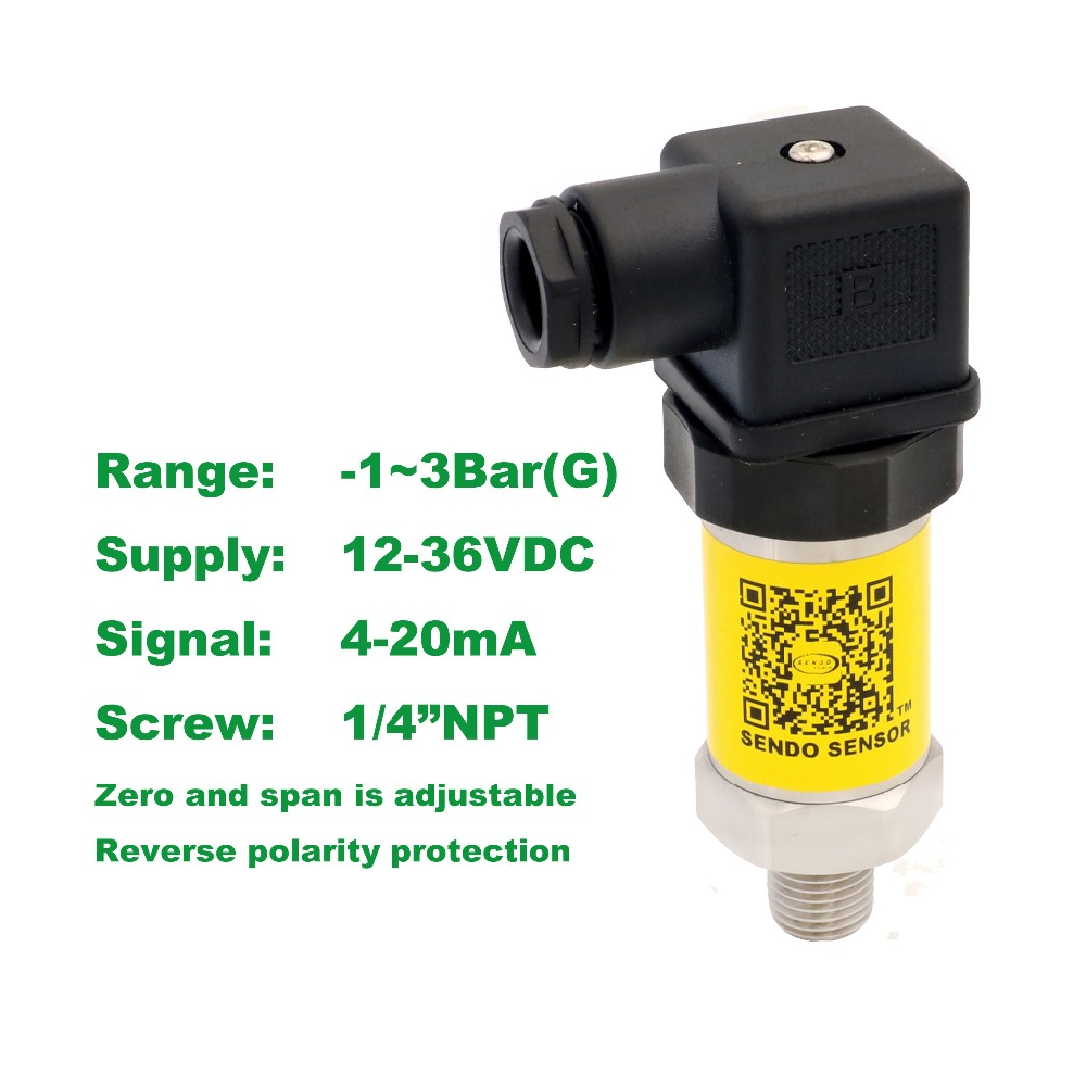 4-20mA pressure sensor, 12-36V supply, -1~3bar, -100~300KPa, 1/4