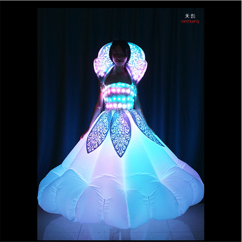 TC 179 Inflatable led women dress full color led light dance led costumes RGB stage wears singer dj clothes Programmable skirt