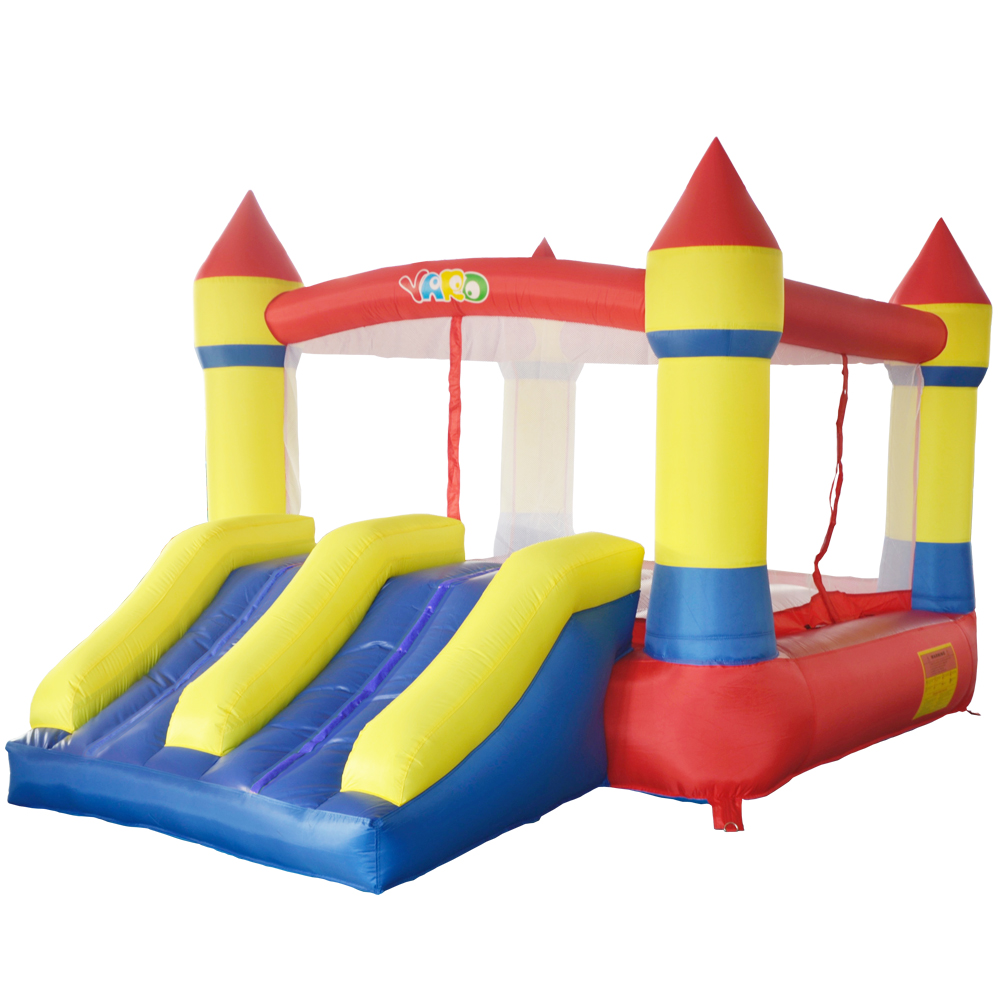QUINTAL PVC Inflável Trampolins Castelo Insuflável Crianças Seguro Suave Com Ventilador Duplo Slides Bounce Casa Inflável Trampolins